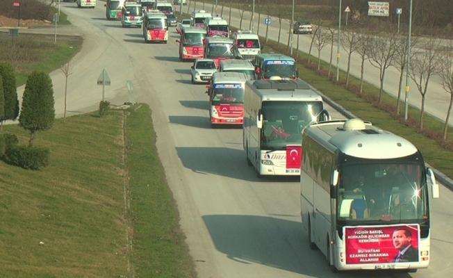 Düzce'de Mehmetçik'e konvoylu destek