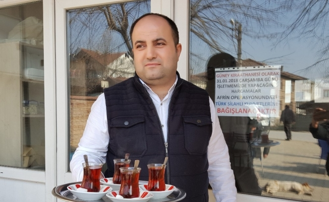 (Özel) Kahvehanenin 1 günlük çay paralarını Afrin'e bağışladı