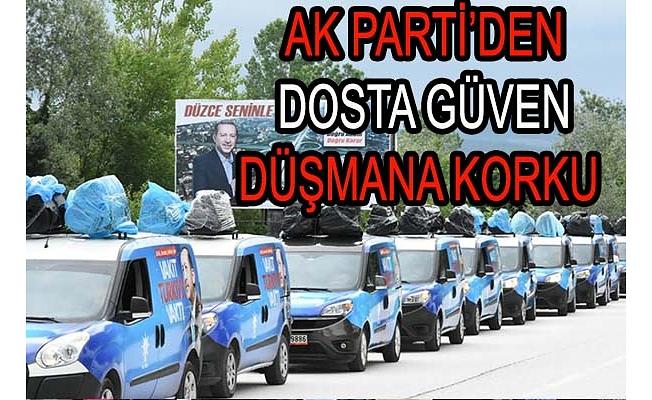 AK Parti Konvoyuna Büyük Destek