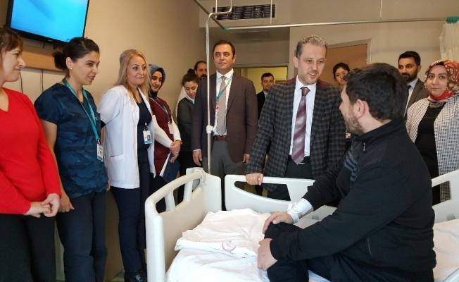 Düzce'de hastanede hal hatır ekibi iş başında
