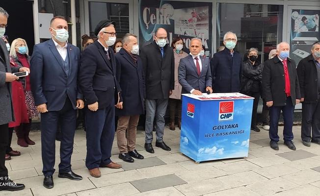 CHP'LİLER ESNAF GEZİLERİNE GÖLYAKA'DA DEVAM ETTİ